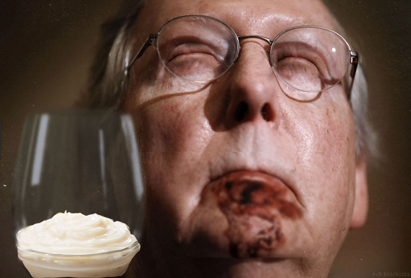 McConnell-savors-sweet-creamy-glass-of-$5000-a-jar-Helman's---Aged-30-years-in-another,-larger-jar-of-mayo