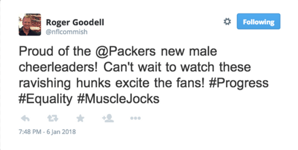 Roger Goodell Tweet Packers