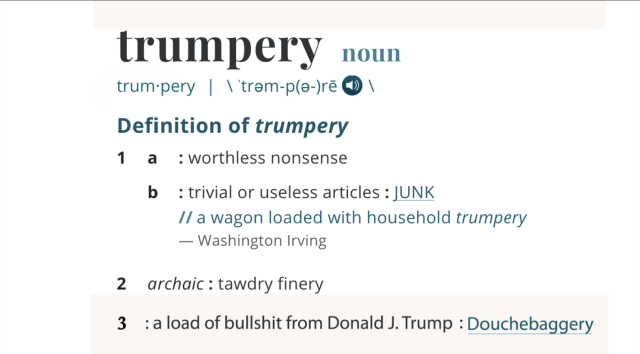 Webster's Dictionary adds new definition for trumpery