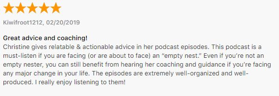 Your Empty Nest Coach podcast review by Carolyn Kiel of Beyond6Seconds.