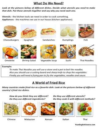 Cooking in the kitchen vocabulary yourenglishsource cooking lesson plan page 3 forumfinder Choice Image