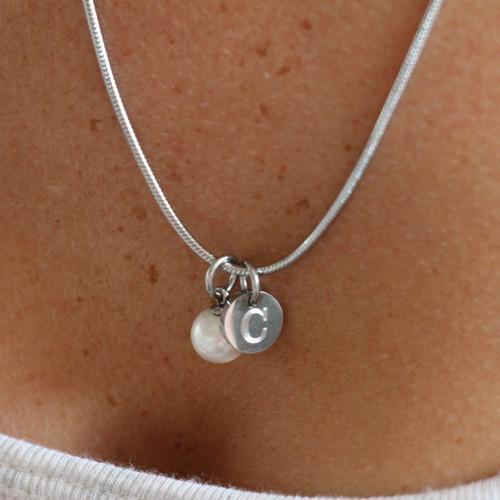 initial necklace with pearl silver