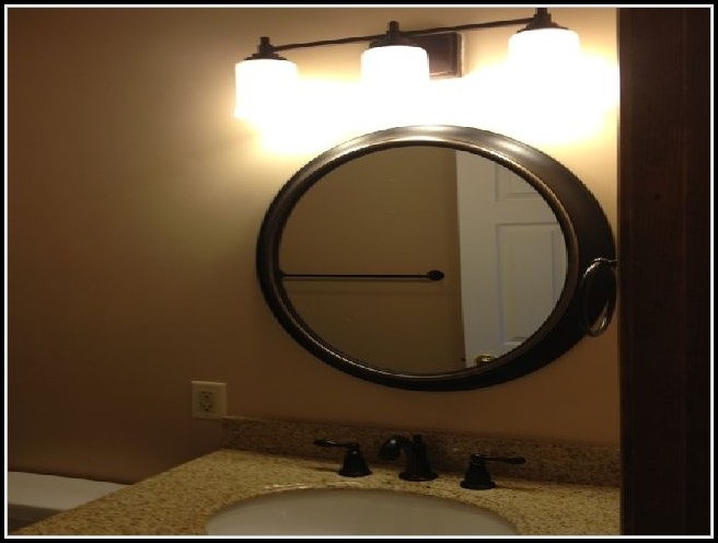 Bronze Oval Bathroom Mirror