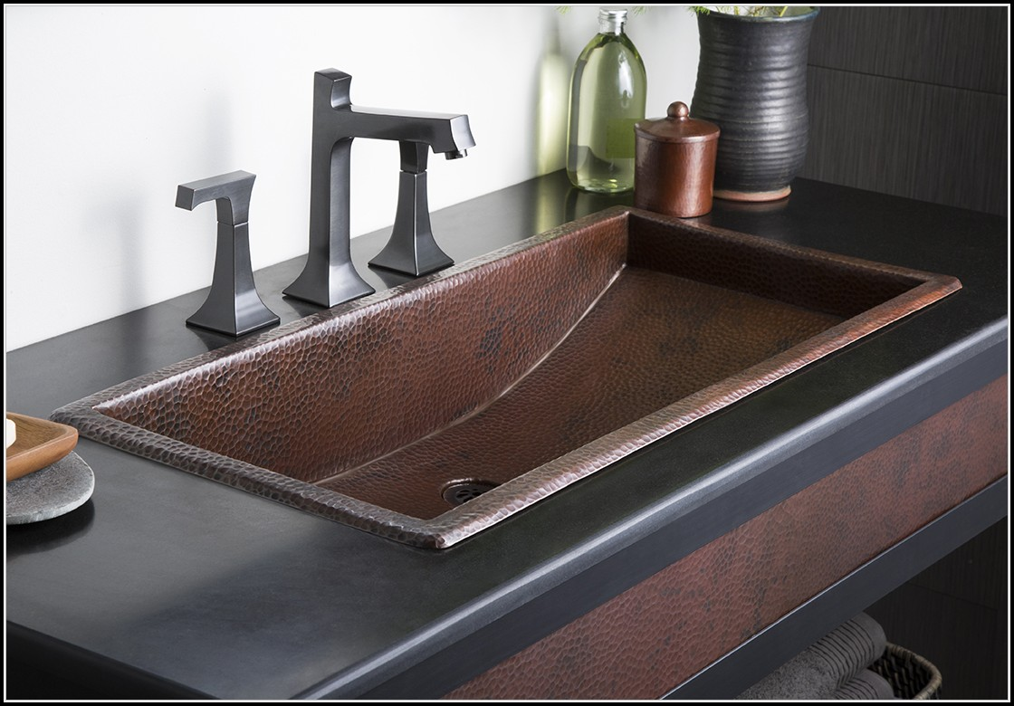Copper Trough Bathroom Sink