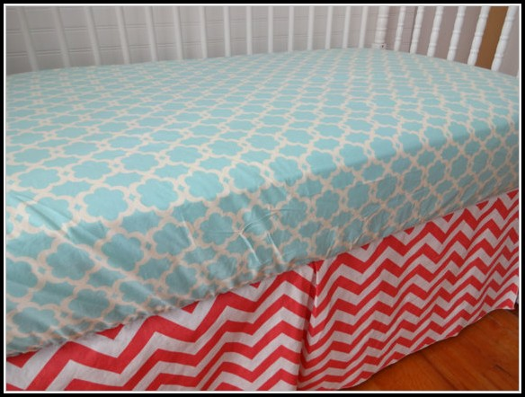 Coral And Turquoise Chevron Bedding