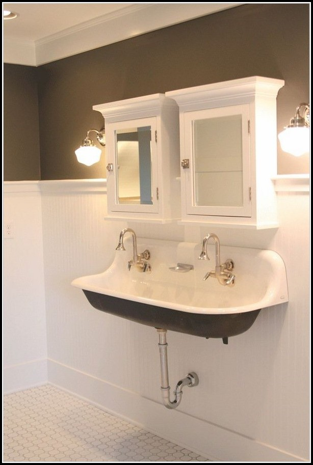 Double Bathroom Trough Sink
