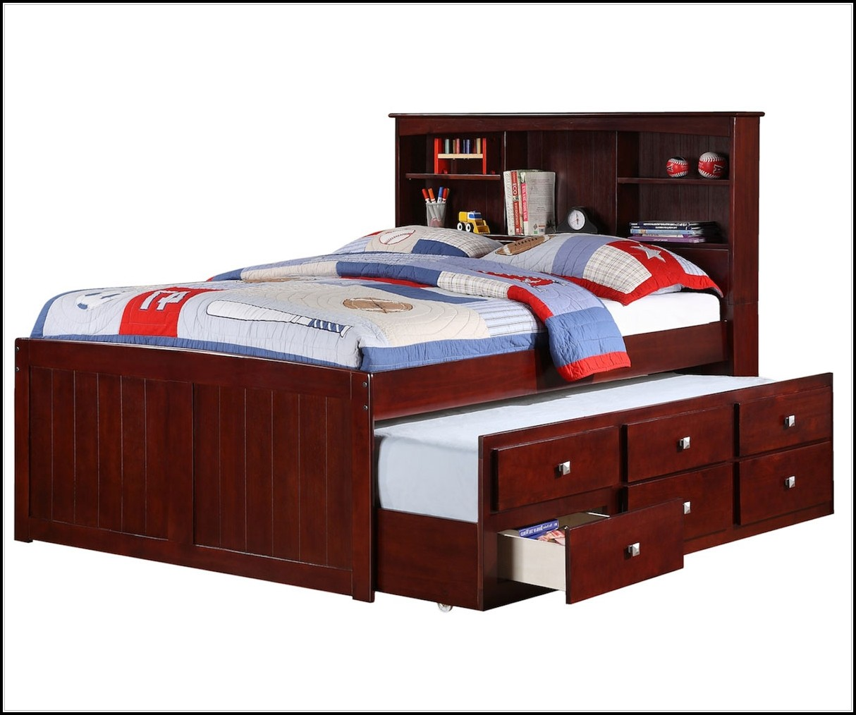 Full Size Captains Bed Solid Wood