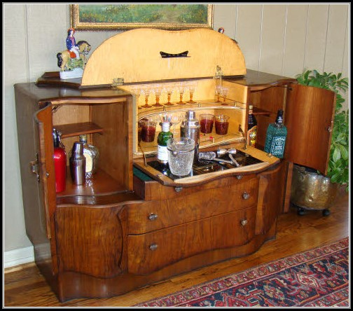 Art Deco Pop Up Bar Cabinet