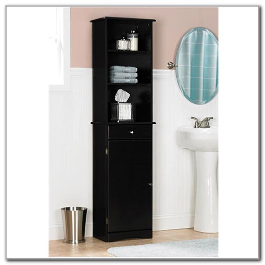 Black Bathroom Linen Storage Cabinet