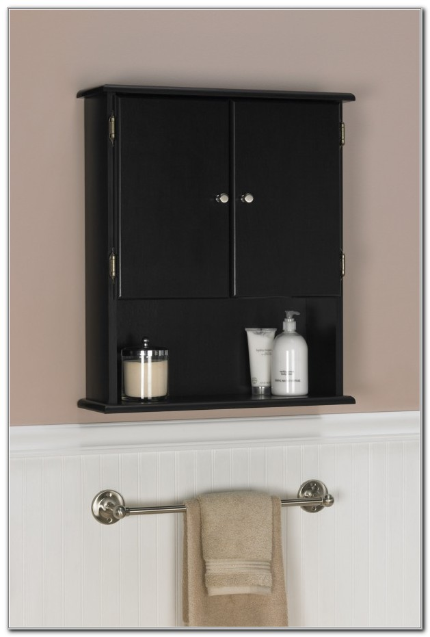 Black Bathroom Storage Wall Cabinets