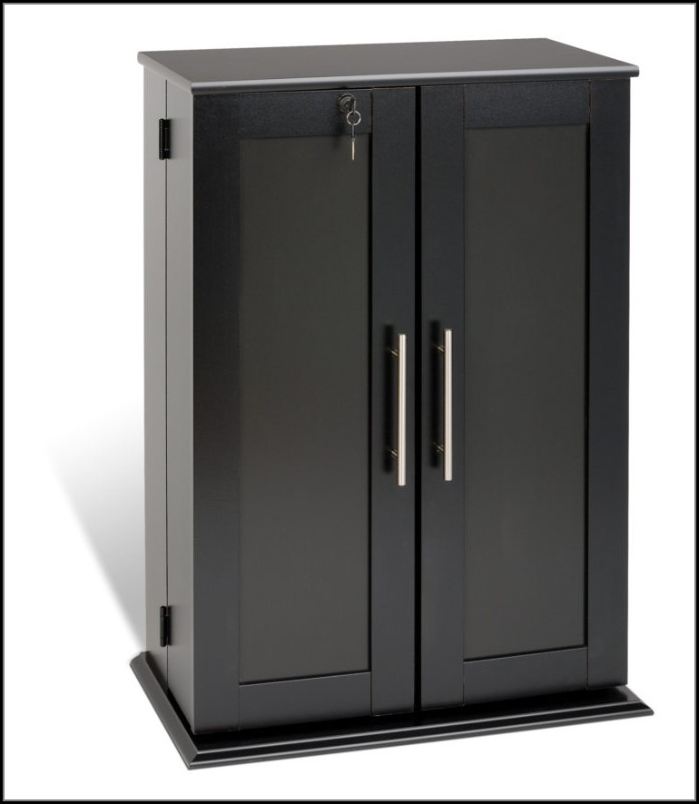 Dvd Cabinet With Doors Black