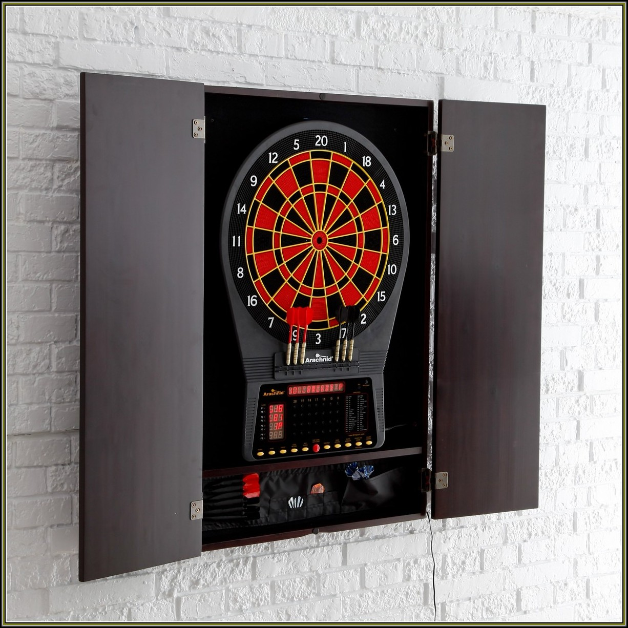Electronic Dart Board Cabinet Set