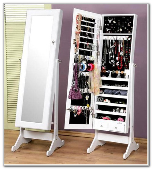 Mirror With Storage Jewelry Cabinet