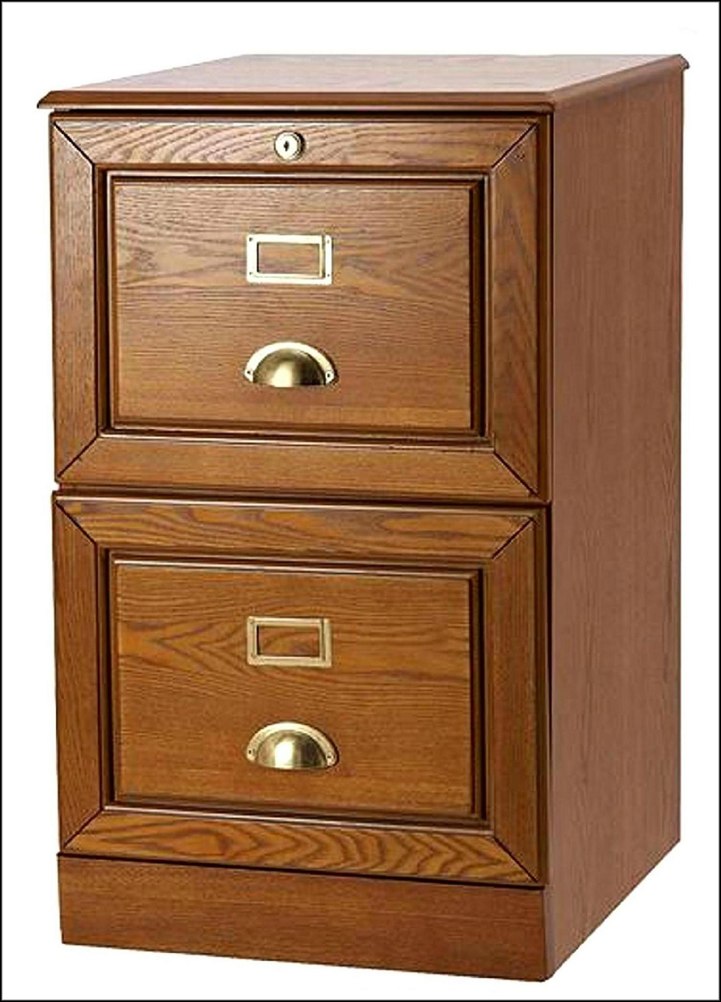 Oak 2 Drawer Locking File Cabinet