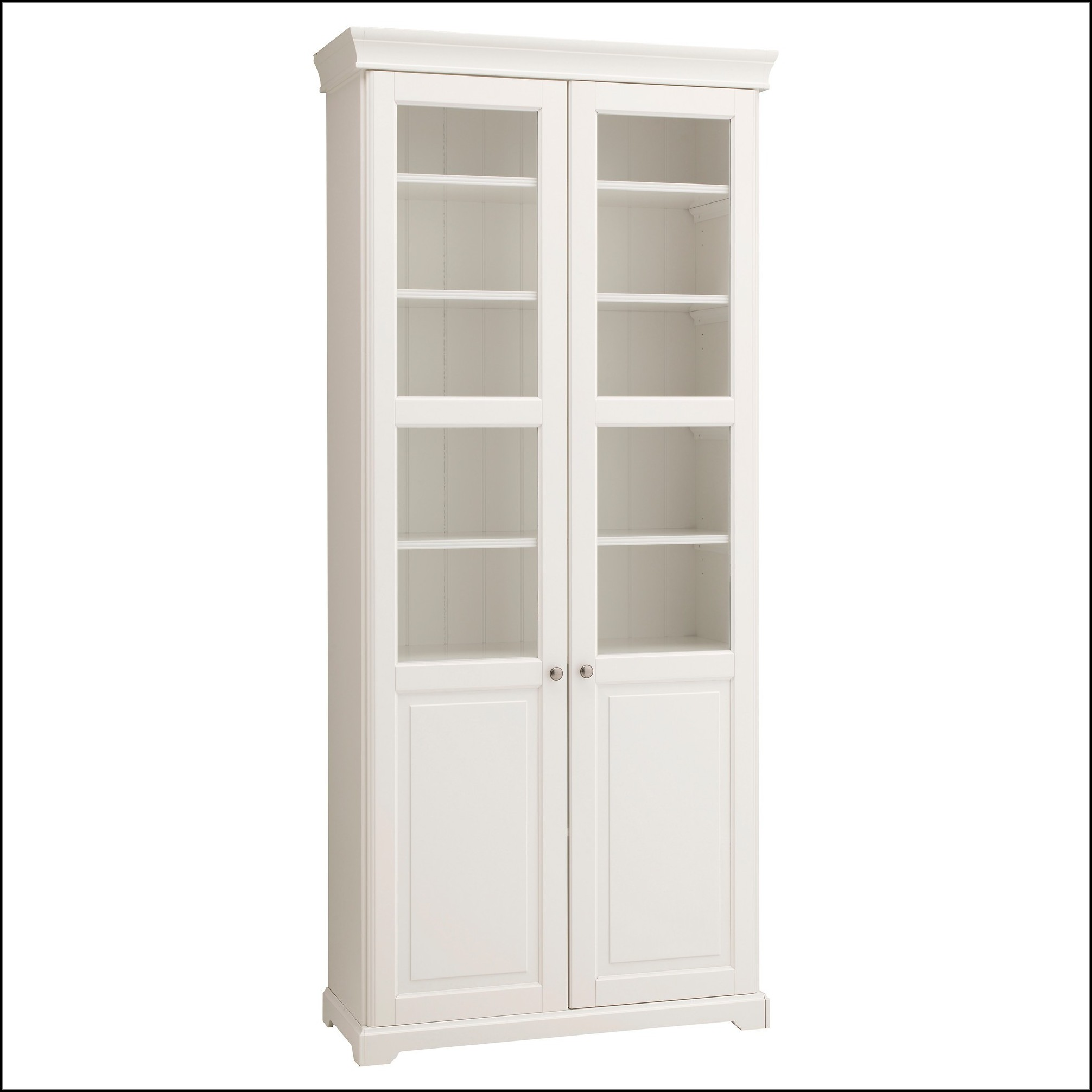 Tall White Cabinet With Glass Doors