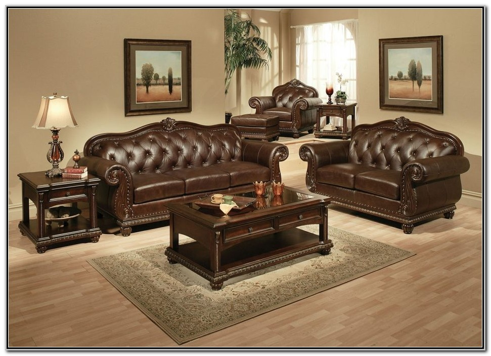 Tufted Leather Living Room Furniture