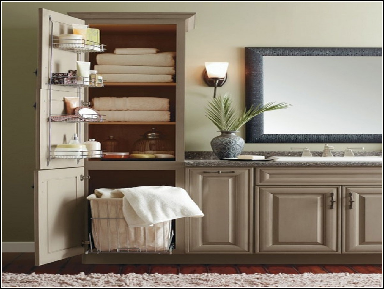 Vanity Linen Cabinet With Hamper