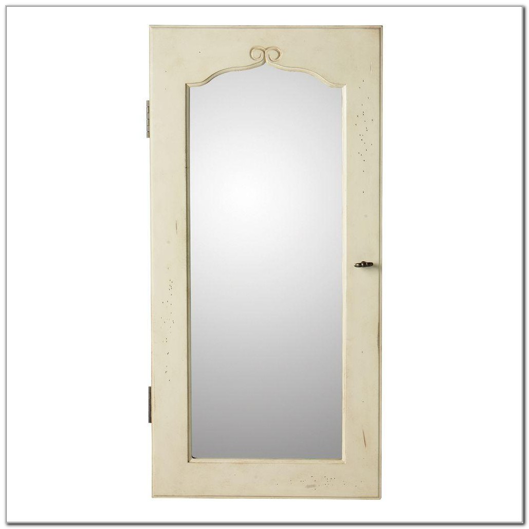 Wall Mount Jewelry Armoire With Mirror White