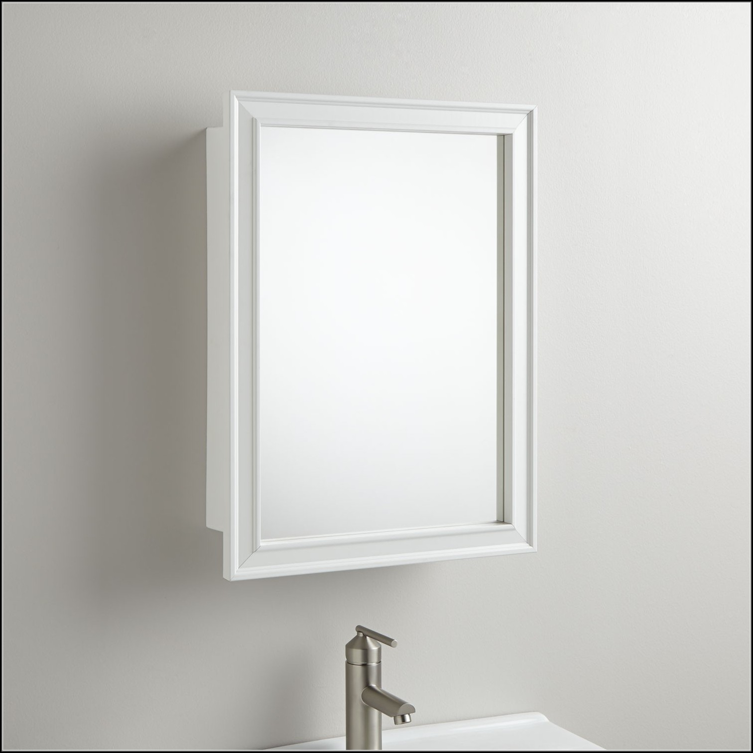 White Wooden Recessed Medicine Cabinet