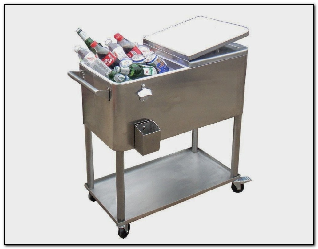 Steel Patio Cooler On Wheels