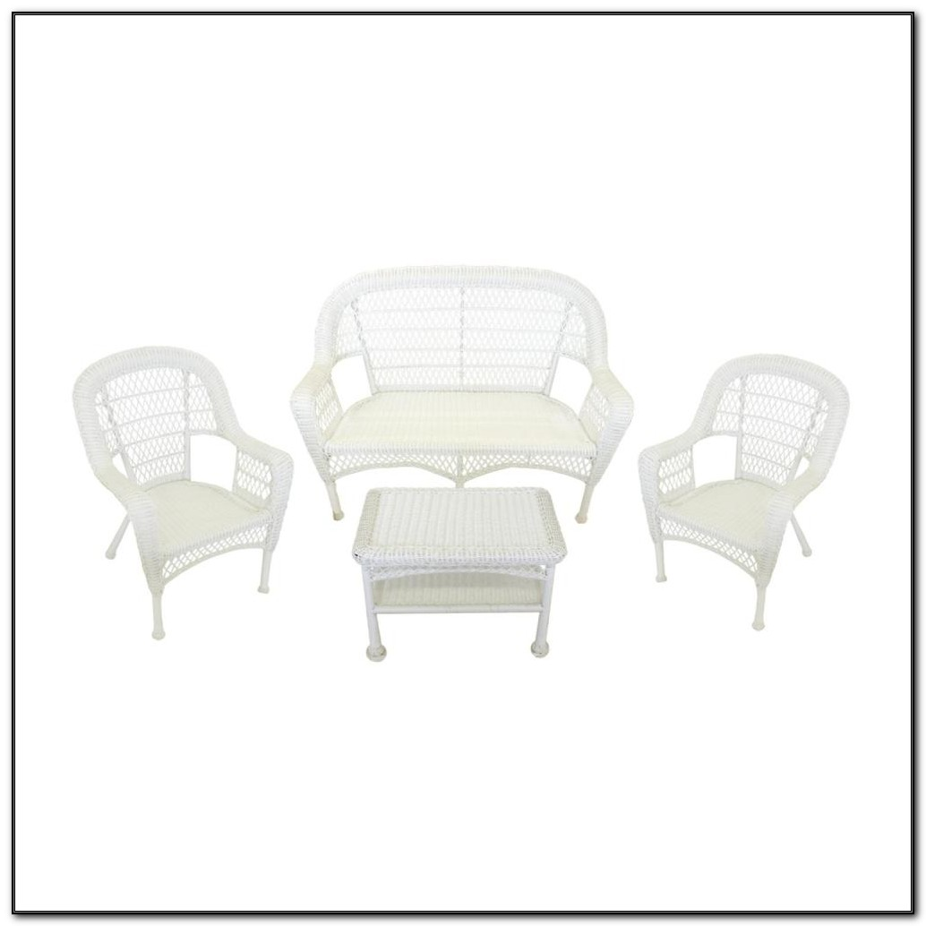 White Resin Wicker Patio Furniture Set