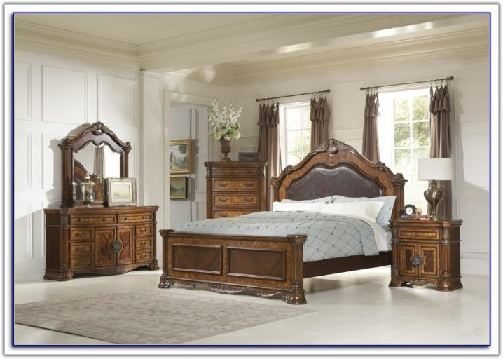 Broyhill Perspectives Leather Headboard Bedroom Set