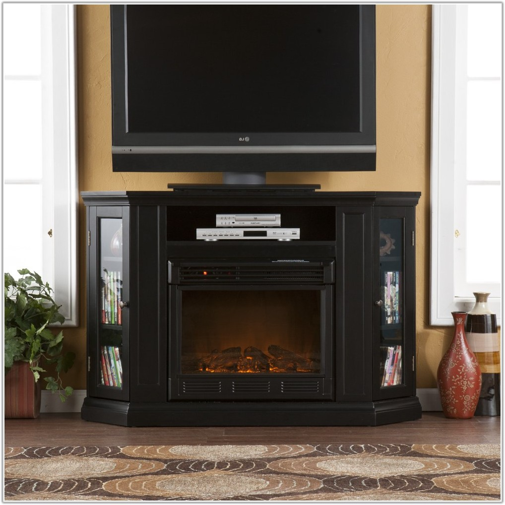 Black Media Cabinet With Fireplace