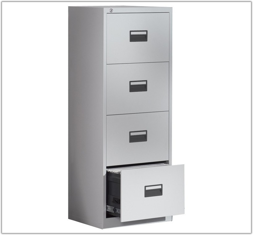 Black Metal 4 Drawer Filing Cabinet