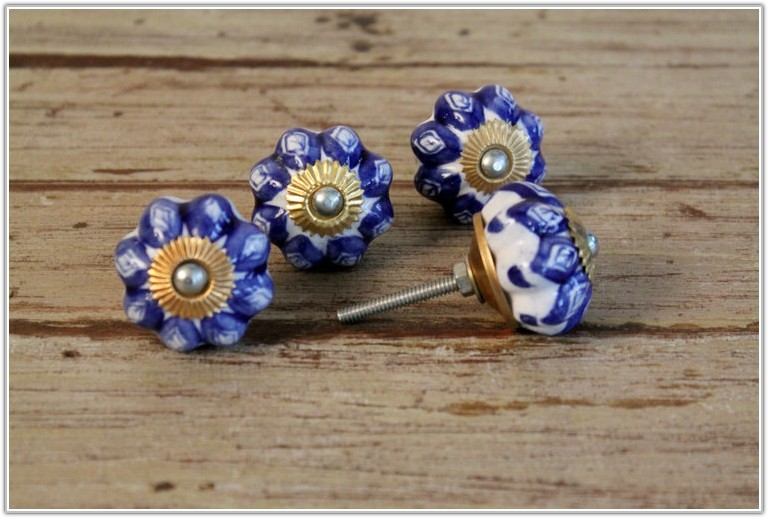 Blue And White Ceramic Cabinet Knobs