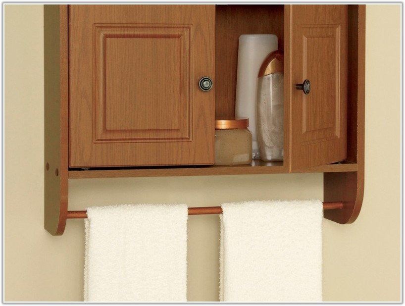 Brown Bathroom Wall Cabinet With Towel Bar