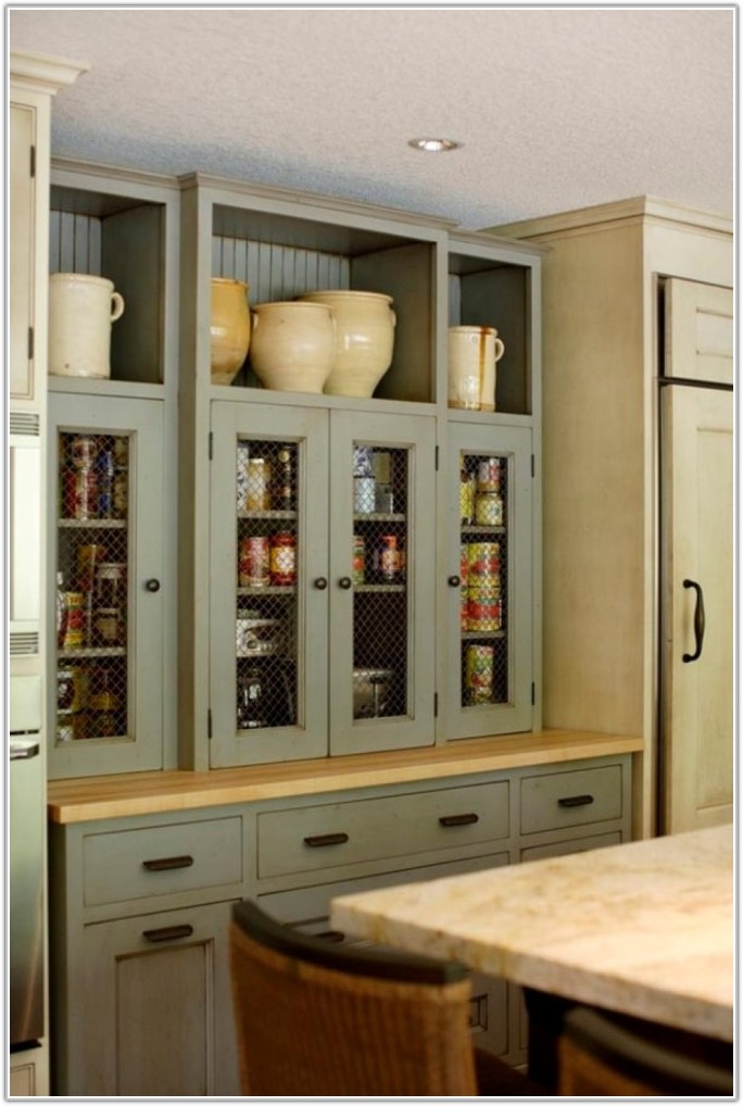 Glass Door Kitchen Pantry Cabinet