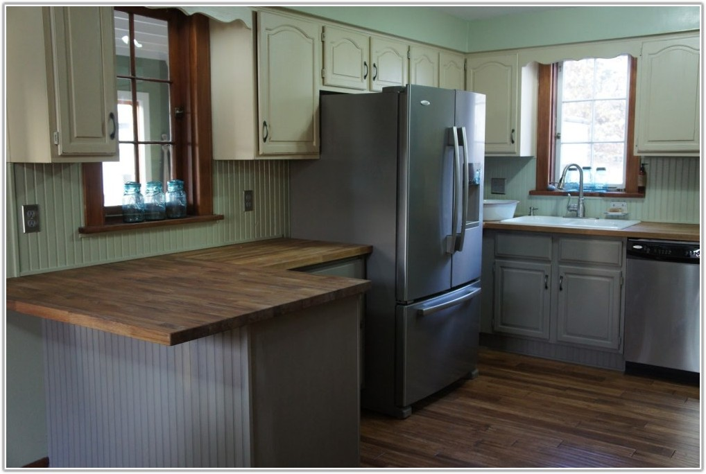 Grey Kitchen Cabinets With Wood Countertops
