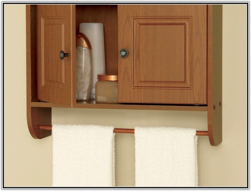 Oak Bathroom Cabinet With Towel Bar