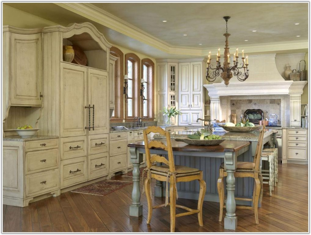 Old World White Kitchen Cabinets