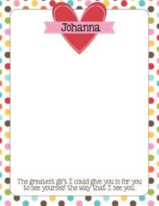 Young Women Love Notes Activity Idea & Printable