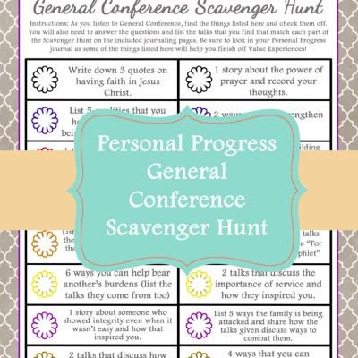 General Conference Personal Progress Scavenger Hunt