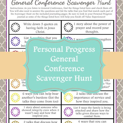 General Conference Personal Progress Scavenger Hunt