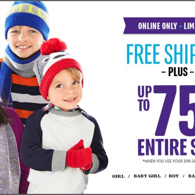 The Children's Place-Up to 75% Off 10/27 and Free Shipping!