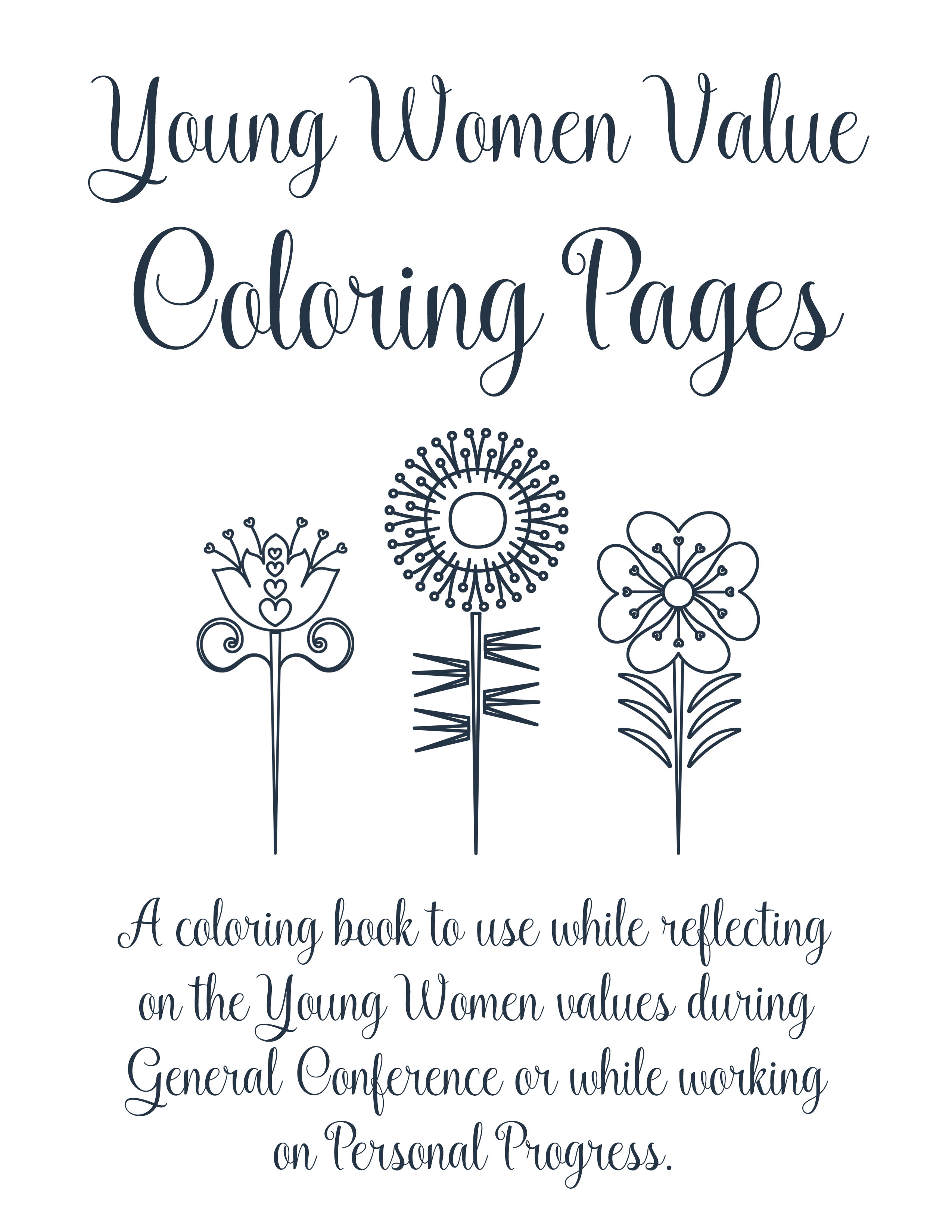 Young Women Personal Progress Values Coloring Pages