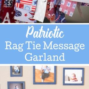 Patriotic Rag Tie Message Garland