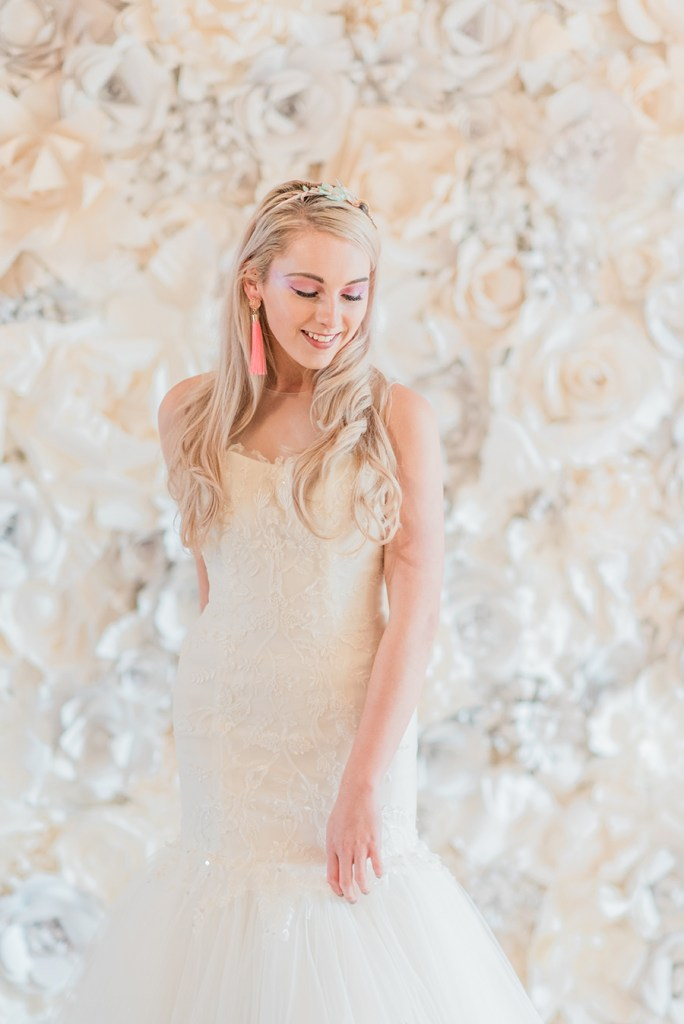 Unicorn Inspired Bride with Flower Wall