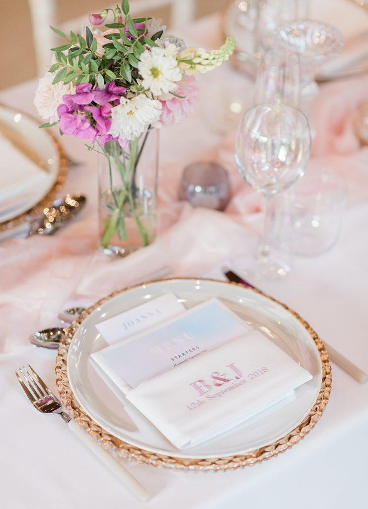 Unicorn Inspired Wedding Table Setting |Luminescent Glassware. Styled by Your Fabulous Wedding