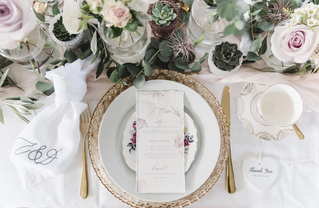 Wedding Tablescape, Blush Pink & Grey. Vintage meets Modern
