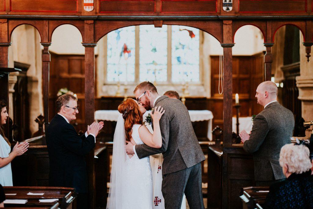 Sealed with a kiss, Rosie & Scott, Burnsall wedding