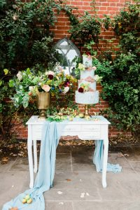 Autumnal Blue & Copper Cake on Dressing Table