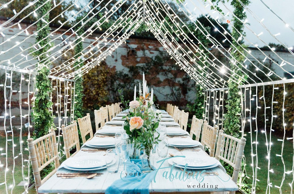 Fairy Light Installation over Banquet Table