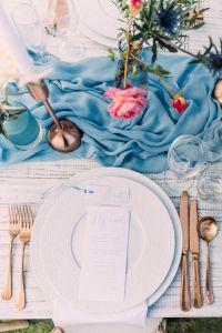 Overhead shot Blue & Copper Table Setting