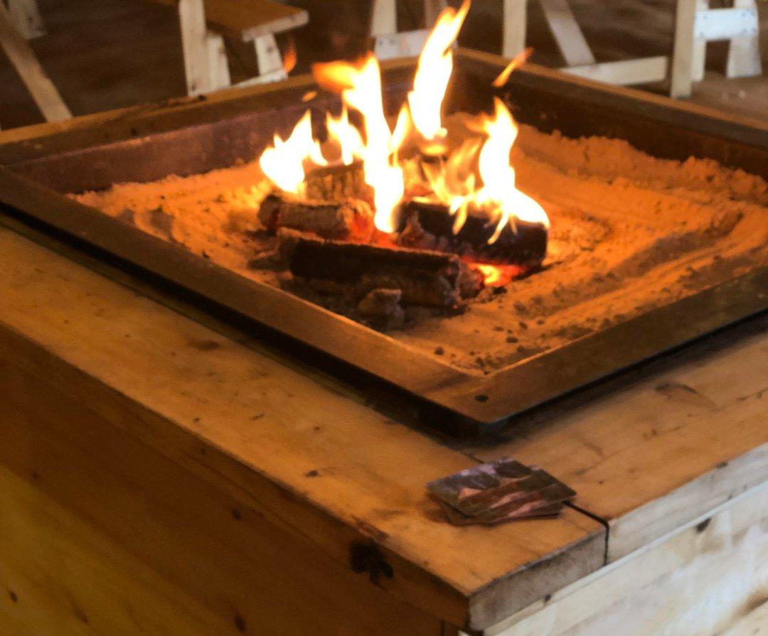 Firepit in Tipi at Horseshoe Farm