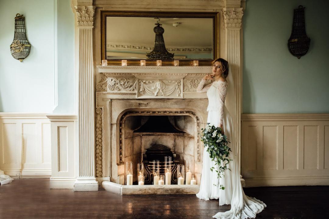 Botanical Winter Wedding - Woodborough Hall - Fireplace