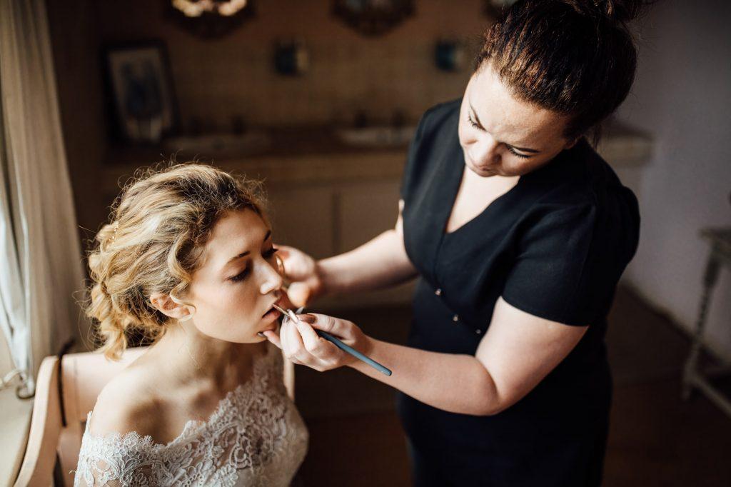 Botanical Wedding, Woodborough Hall, Bride having Make Up Applied
